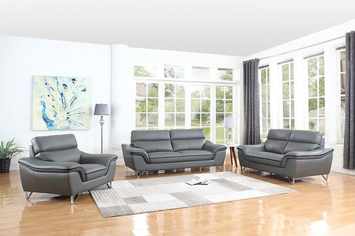 168 Geo Modern Leather Gray Sofa
