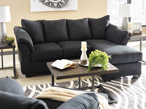 Darsy Angel Black Polyester Contemporary Sofa Chaise