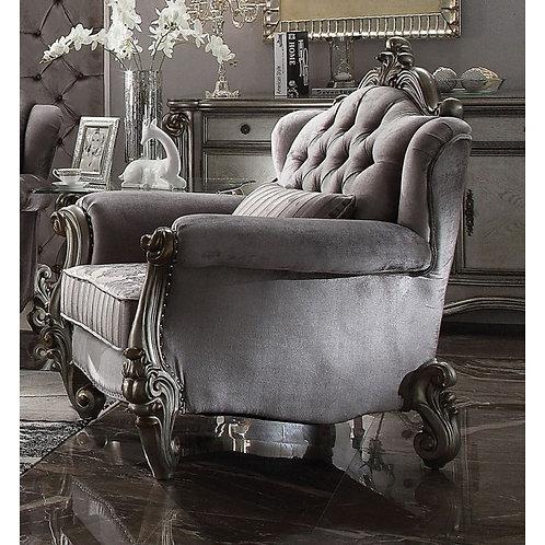 Versailles All Chair w/1 Pillows Velvet & Antique Platinum
