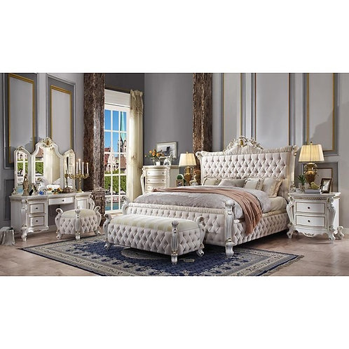 Picardy All Fabric & Antique Pearl Finish Bed