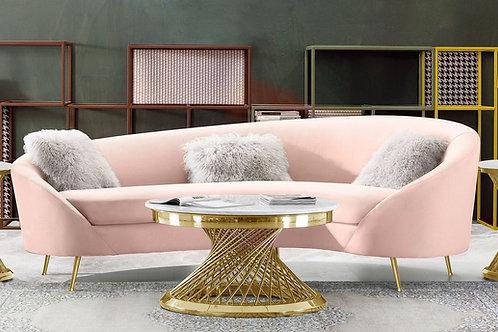 Celine Dream Blush Velvet / Gold Legs Sofa