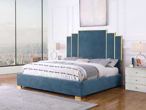 Best B54 Teal Blue Velvet Fabric Bed Frame