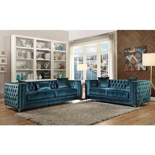 Gilian All Teal Velvet Sofa