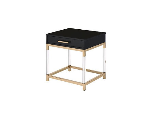 All 82347 ADIEL Black & Gold Finish End Table