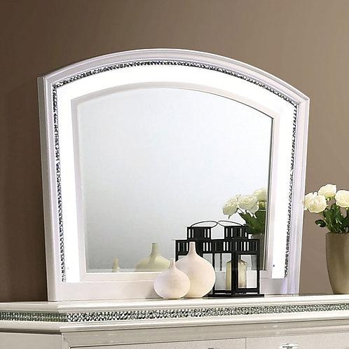 MADDIE Imprad Transitional White Mirror w/Lights