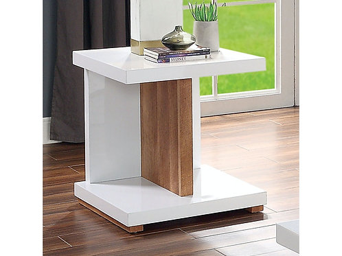 Moa Imprad Contemporary White Gloss/Natural Tone End Table