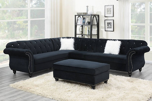 4-PCS Sectional Set Black Velvet Port 6433