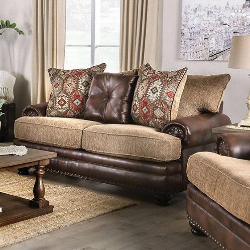 FLETCHER Imprad Transitional Brown Leather/Tan Chenille Fabric Loveseat