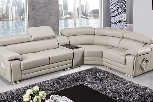 516 AE Light Gray Genuine Leather Sectional - Left Sitting