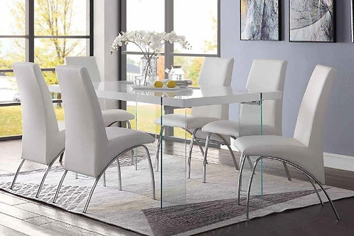 Noland All White High Glass Dining Table