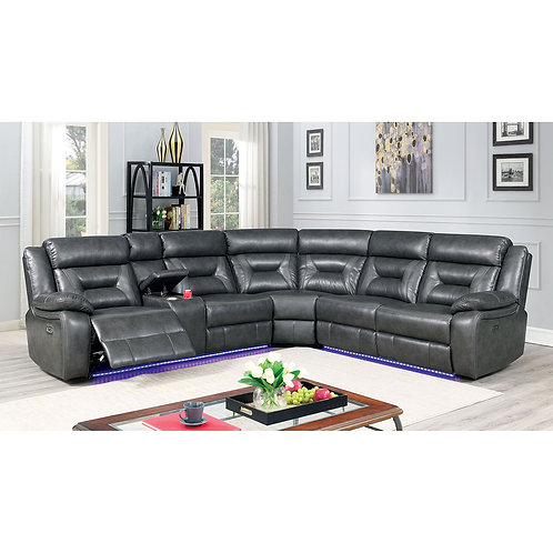 OMEET Imprad Power Reclining LED Lighting Gray Sectional