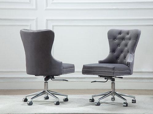 Best OC40 Grey Velvet Tufted Adjustable, Swivel Office Chair