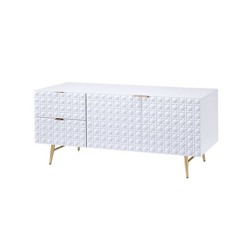 All Maisey II TV Console - 97672 - White & Gold