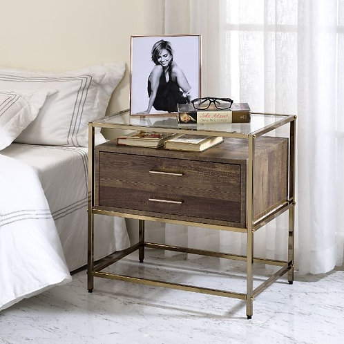 All KNAVE 97867 Walnut & Champagne Finish Night Stand