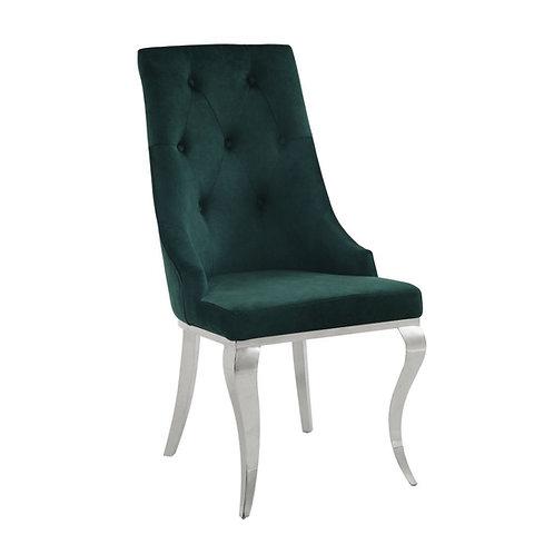 All Dakel Hollywood Glam Green Velvet Side Chair