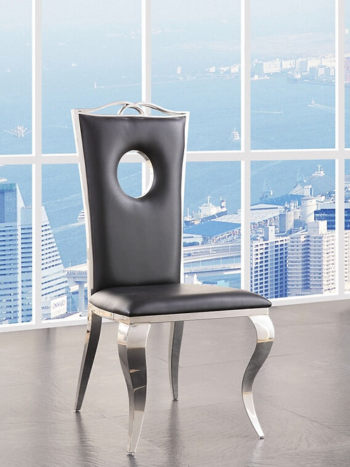 Cyrene Glam All Side Chair Black PU & Stainless Steel Side Chair