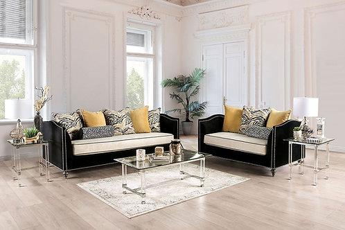 MAYA Imprad Transitional Black/Beige Microfiber Sofa w/Nailheads