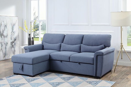 All NOEMI 55540 Blue Fabric Reversible Storage Sleeper Sectional Sofa