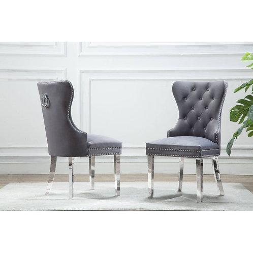 Best SC45 Gray Tufted Velvet Side Chair