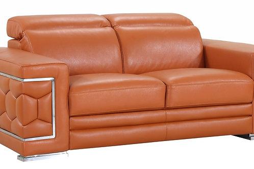 692 Geo Camel Italian Leather Loveseat