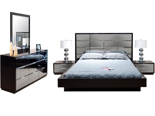 Mera Shar Black Lacquer with Beveled Mirror Bed includes  2 Nightstands