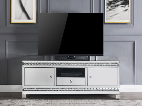 All Lotus TV Stand - 91835 - Glam - Mirror, Crystal, Mirrored TV Stand