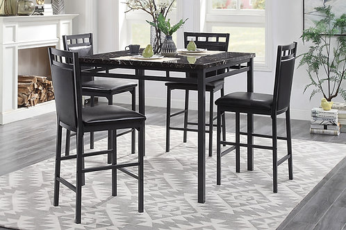 Olney Henry Dark Brown Faux Marble Top Counter Table + 4 Stools