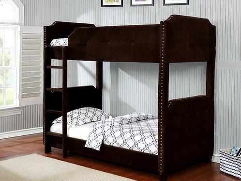 7602 Milt Brown Velvet Bunk Bed