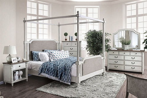 LANSFORD Imprad Antique White Canopy Bed