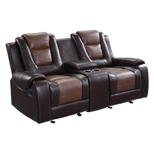 Henry Briscoe Brown Double Glider Reclining Love Seat with Center Console