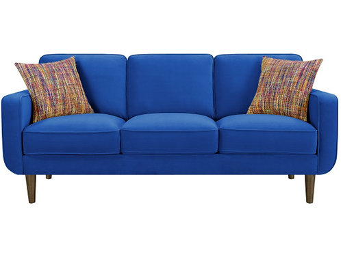 Emeral Jax Royal Blue Velvet Sofa