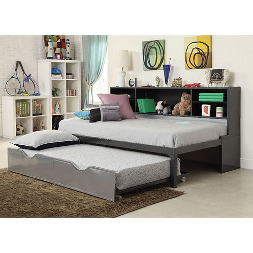 Renell All Twin Bed w/Bookcase & Trundle Black & Silver