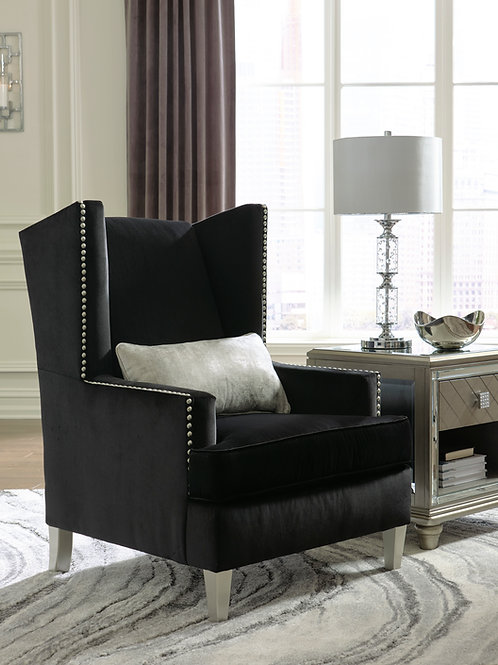 Angel Harriotte Traditional Black Velvet Accent Chair w/Pillow