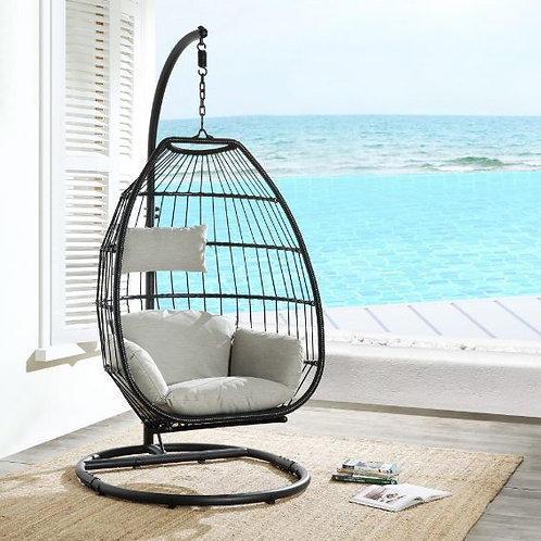 All Patio Beige Fabric & Black Wicker Hanging Chair with Stand - 45115