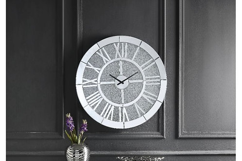 All Nowels 97724 Mirrored Glam Wall Clock w/Faux Stones