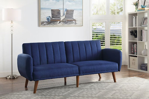 All BERNSTEIN 57190 BLUE LINEN & WALNUT FINISH Adjustable Sofa