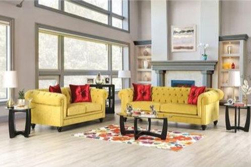 ELIZA Imprad Glam Microfiber Chesterfield Royal Yellow Sofa