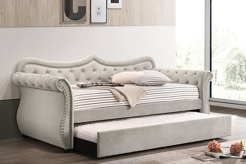 Adkins All Beige Velvet-Nailheads Daybed w/Trundle