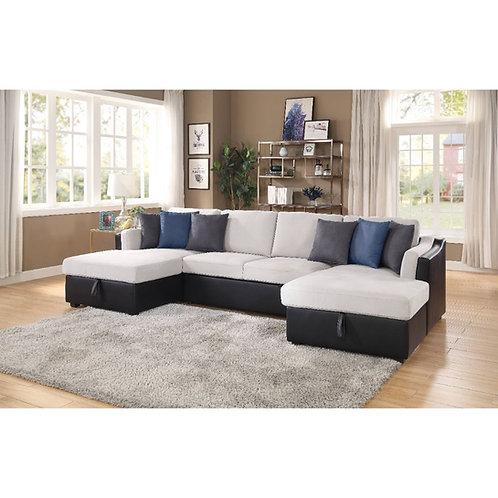 All Merill Beige Fabric-Black PU U-Shaped Sectional w/Sleeper/Storage