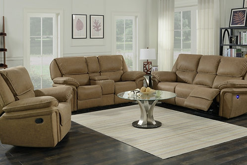 Emeral Allyn Light Brown Power Motion Sofa w/USB Outlet
