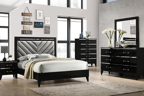 CHELSIE All GRAY FABRIC & BLACK FINISH Bed Frame