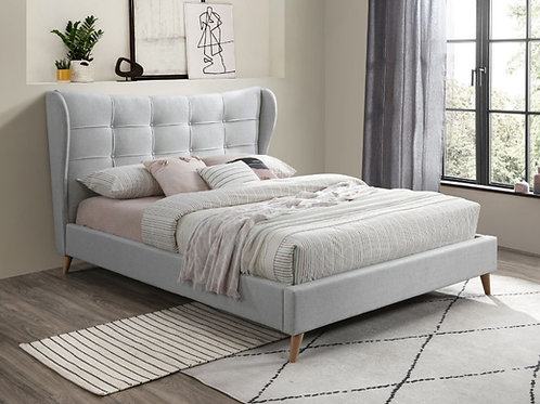 All DURAN Light Gray Fabric Tufted Buttons Platform Bed