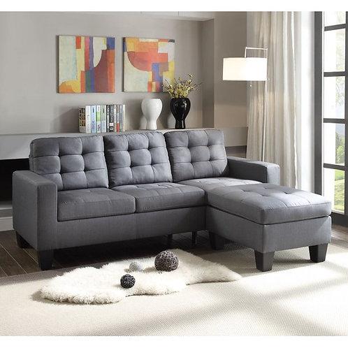 All Earsom Sectional Sofa Gray Linen