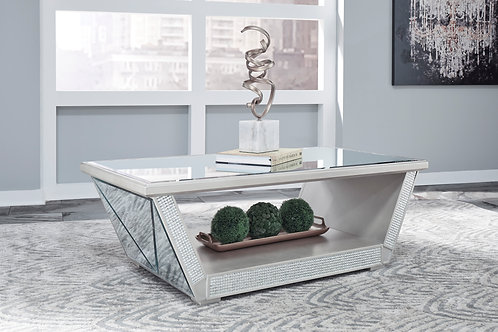 Fanmory Angel Contemporary Silver Finish Rectangular Cocktail Table