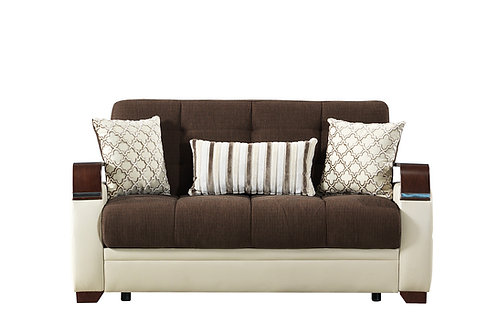 Diva Dogal Royal Brown Fabric Loveseat Sleeper