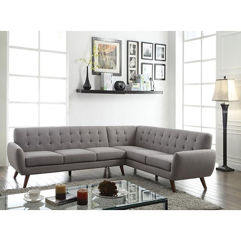 Esick All Light Grey Mid-Century Sectional
