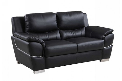 4572 GU Black Leather Loveseat