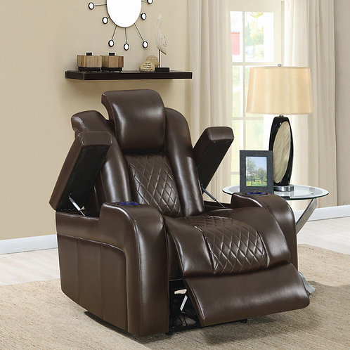 Delangelo Cali Power^2 Recliner With Cup Holders Brown