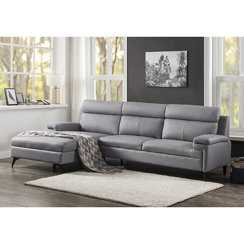 All Werner Contemporary Beige Leather-Aire Sectional Sofa