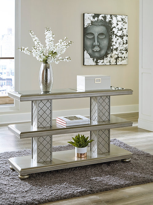 Angel Chevanna Contemporary Platinum Mirrored Sofa Table